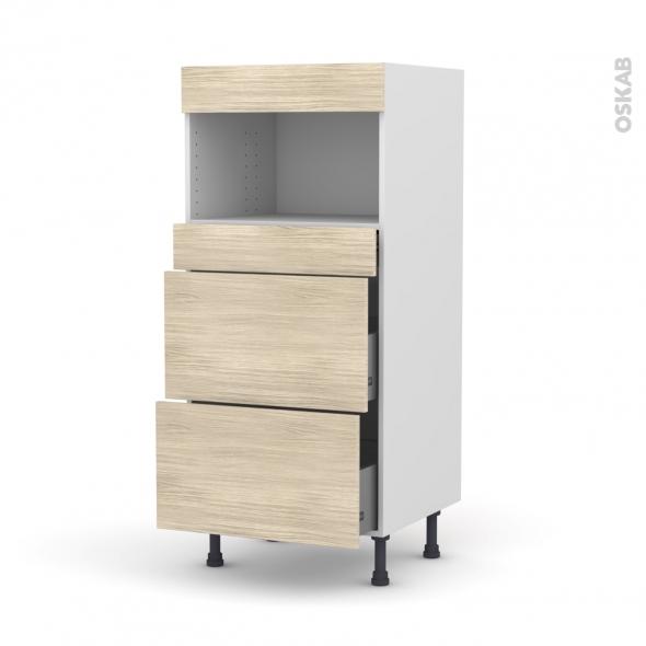STILO Noyer Blanchi - Colonne MO niche 36/38 N°57  - 3 tiroirs - L60xH125xP58