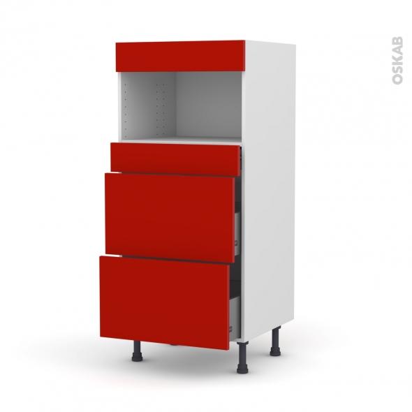 GINKO Rouge - Colonne MO niche 36/38 N°57  - 3 tiroirs - L60xH125xP58