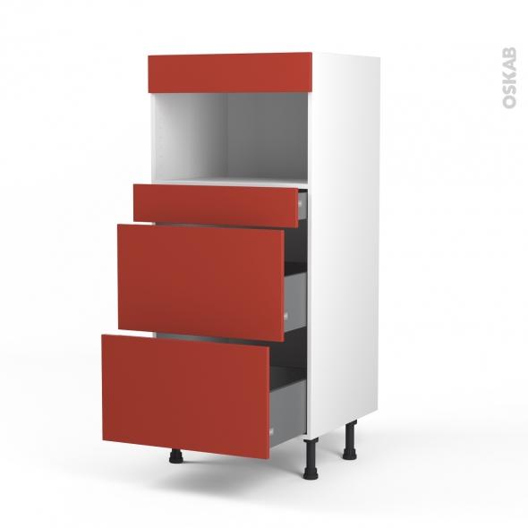 HELIO Rouge - Colonne MO niche 36/38 N°57  - 3 tiroirs - L60xH125xP58