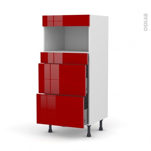 Colonne de cuisine N°57 - MO encastrable niche 36/38 - STECIA Rouge - 3 tiroirs - L60 x H125 x P58 cm