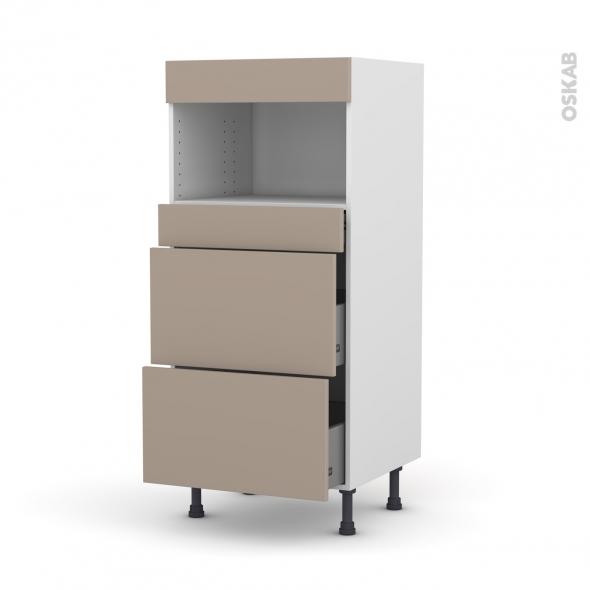 Colonne de cuisine N°57 - MO encastrable niche 36/38 - GINKO Taupe - 3 tiroirs - L60 x H125 x P58 cm