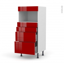 Colonne de cuisine N°58 - MO encastrable niche 36/38 - STECIA Rouge - 4 tiroirs - L60 x H125 x P58 cm