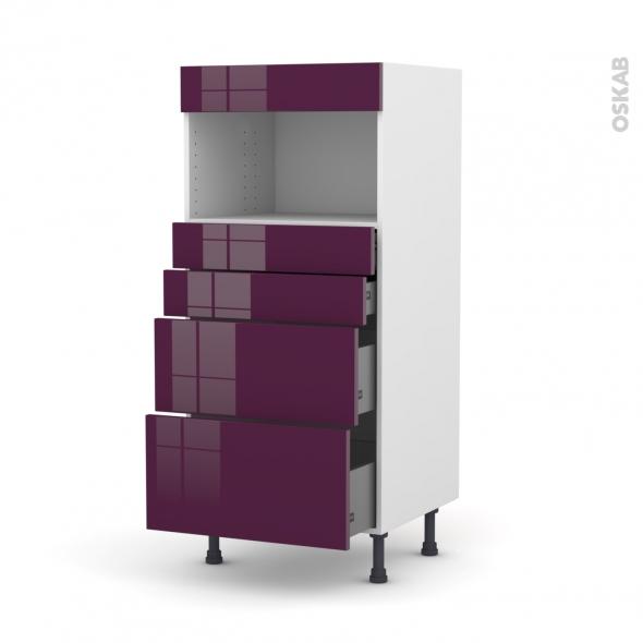 Colonne de cuisine N°58 - MO encastrable niche 36/38 - KERIA Aubergine - 4 tiroirs - L60 x H125 x P58 cm