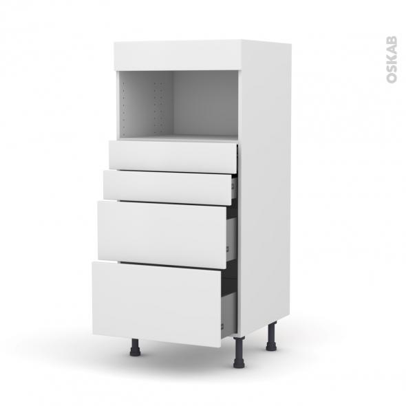 Colonne de cuisine N°58 - MO encastrable niche 36/38 - GINKO Blanc - 4 tiroirs - L60 x H125 x P58 cm