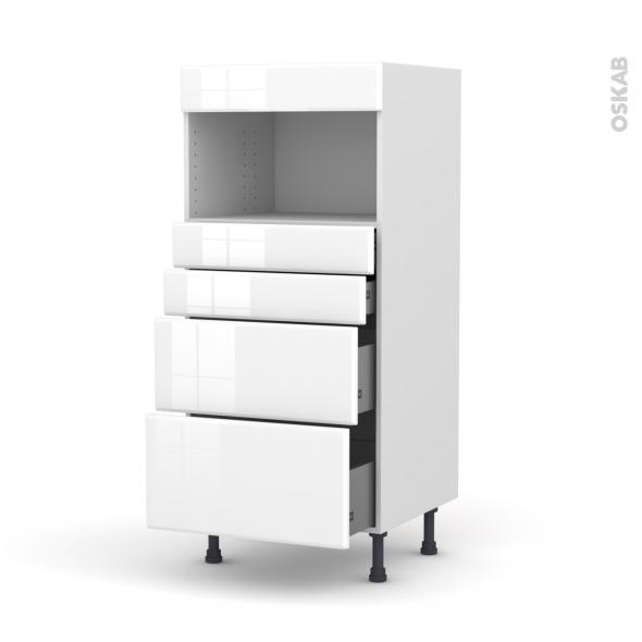 Colonne de cuisine N°58 - MO encastrable niche 36/38 - IRIS Blanc - 4 tiroirs - L60 x H125 x P58 cm