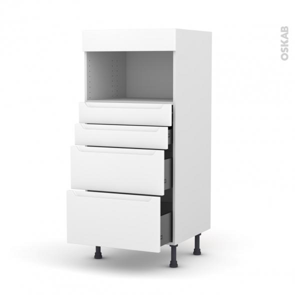 Colonne de cuisine N°58 - MO encastrable niche 36/38 - PIMA Blanc - 4 tiroirs - L60 x H125 x P58 cm