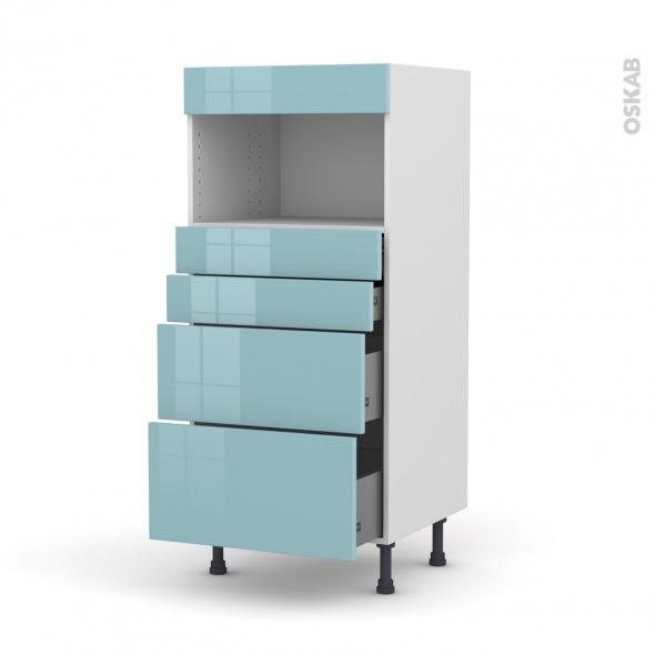Colonne de cuisine N°58 - MO encastrable niche 36/38 - KERIA Bleu - 4 tiroirs - L60 x H125 x P58 cm