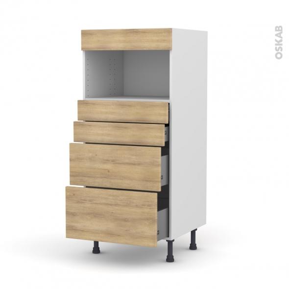 Colonne de cuisine N°58 - MO encastrable niche 36/38 - HOSTA Chêne naturel - 4 tiroirs - L60 x H125 x P58 cm