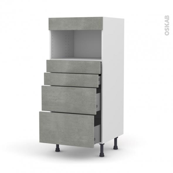 Colonne de cuisine N°58 - MO encastrable niche 36/38 - FAKTO Béton - 4 tiroirs - L60 x H125 x P58 cm