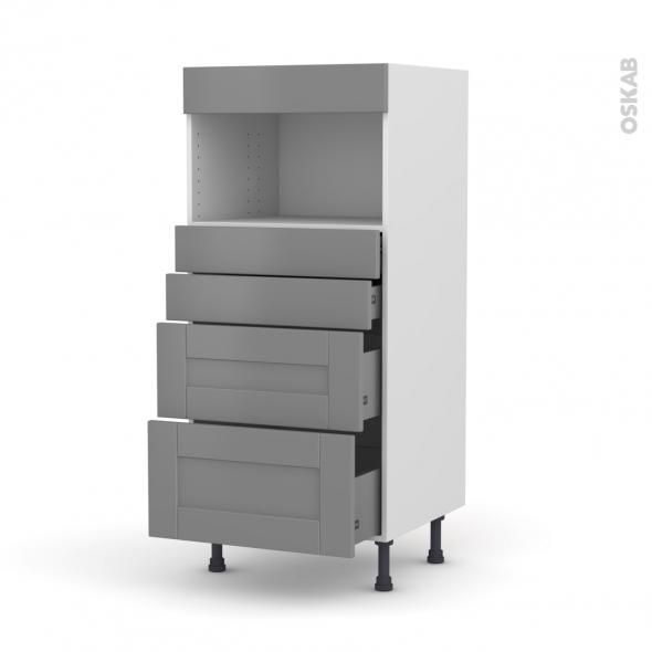 Colonne de cuisine N°58 - MO encastrable niche 36/38 - FILIPEN Gris - 4 tiroirs - L60 x H125 x P58 cm