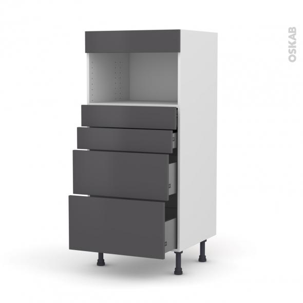 Colonne de cuisine N°58 - MO encastrable niche 36/38 - GINKO Gris - 4 tiroirs - L60 x H125 x P58 cm