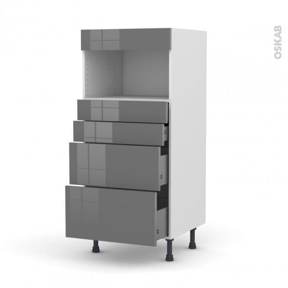 Colonne de cuisine N°58 - MO encastrable niche 36/38 - STECIA Gris - 4 tiroirs - L60 x H125 x P58 cm