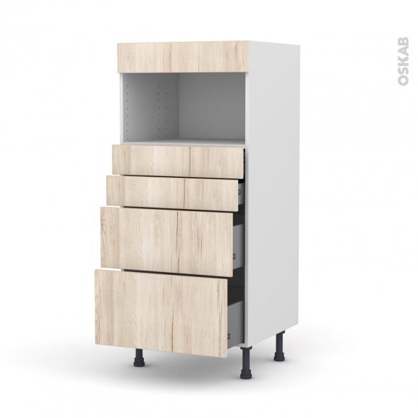 IKORO Chêne clair - Colonne MO niche 36/38 N°58  - 4 tiroirs - L60xH125xP58