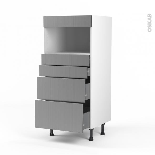 STILO Inox - Colonne MO niche 36/38 N°58  - 4 tiroirs - L60xH125xP58