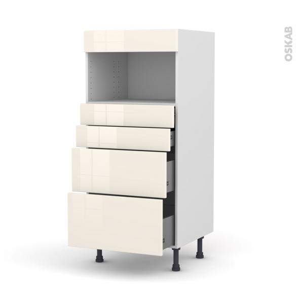 KERIA Ivoire - Colonne MO niche 36/38 N°58  - 4 tiroirs - L60xH125xP58