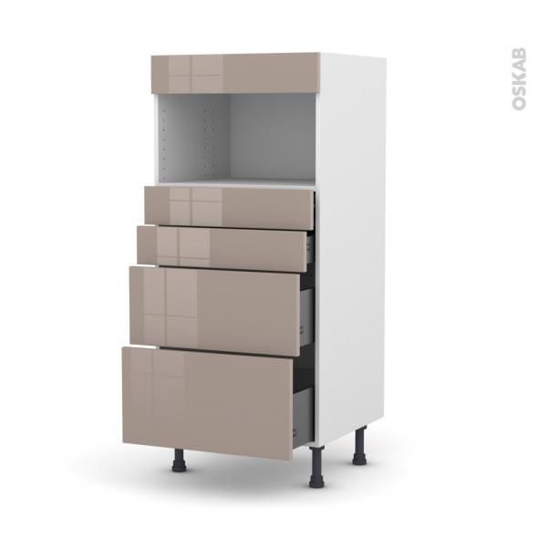 Colonne de cuisine N°58 - MO encastrable niche 36/38 - KERIA Moka - 4 tiroirs - L60 x H125 x P58 cm
