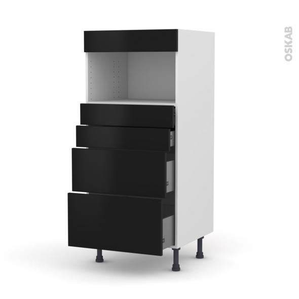 Colonne de cuisine N°58 - MO encastrable niche 36/38 - GINKO Noir - 4 tiroirs - L60 x H125 x P58 cm