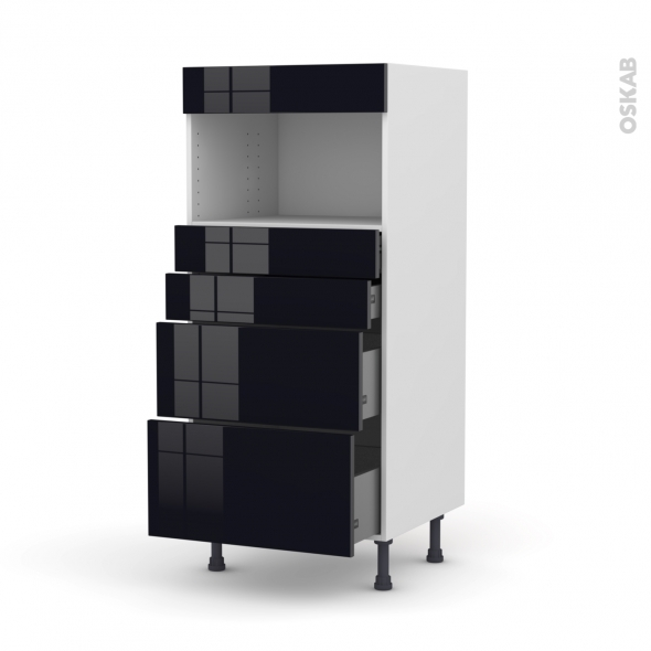 Colonne de cuisine N°58 - MO encastrable niche 36/38 - KERIA Noir - 4 tiroirs - L60 x H125 x P58 cm