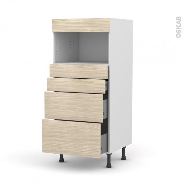 Colonne de cuisine N°58 - MO encastrable niche 36/38 - STILO Noyer Blanchi - 4 tiroirs - L60 x H125 x P58 cm