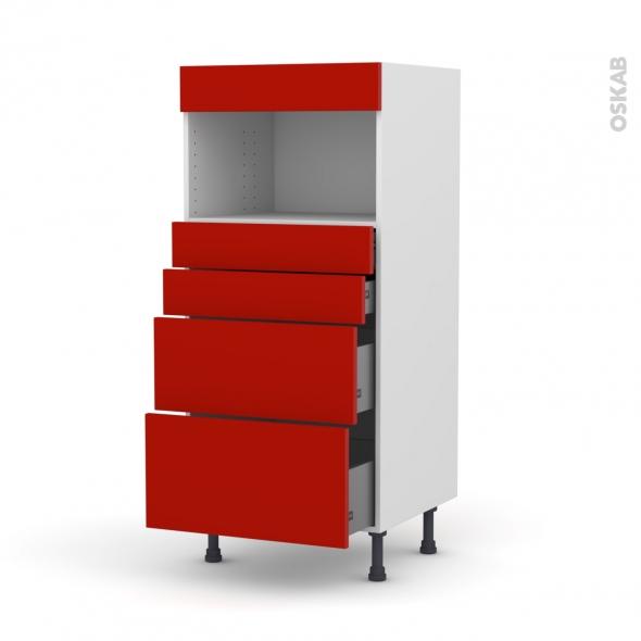 GINKO Rouge - Colonne MO niche 36/38 N°58  - 4 tiroirs - L60xH125xP58