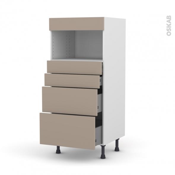 Colonne de cuisine N°58 - MO encastrable niche 36/38 - GINKO Taupe - 4 tiroirs - L60 x H125 x P58 cm