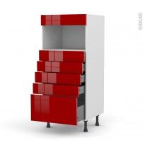 Colonne de cuisine N°59 - MO encastrable niche 36/38 - STECIA Rouge - 5 tiroirs - L60 x H125 x P58 cm