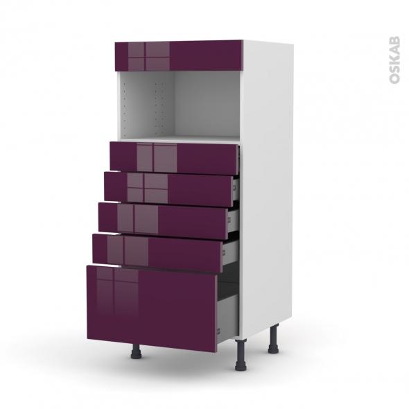 Colonne de cuisine N°59 - MO encastrable niche 36/38 - KERIA Aubergine - 5 tiroirs - L60 x H125 x P58 cm