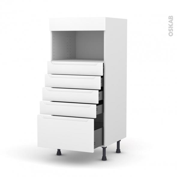 Colonne de cuisine N°59 - MO encastrable niche 36/38 - PIMA Blanc - 5 tiroirs - L60 x H125 x P58 cm