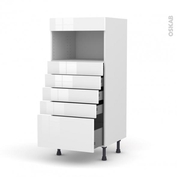 STECIA Blanc - Colonne MO niche 36/38 N°59  - 5 tiroirs - L60xH125xP58