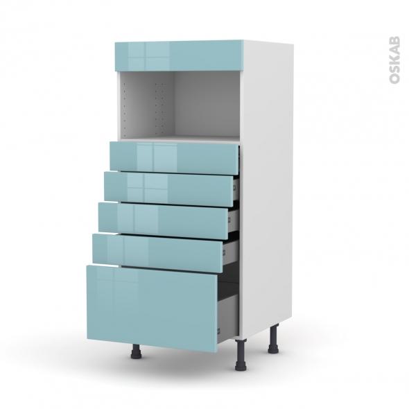 Colonne de cuisine N°59 - MO encastrable niche 36/38 - KERIA Bleu - 5 tiroirs - L60 x H125 x P58 cm