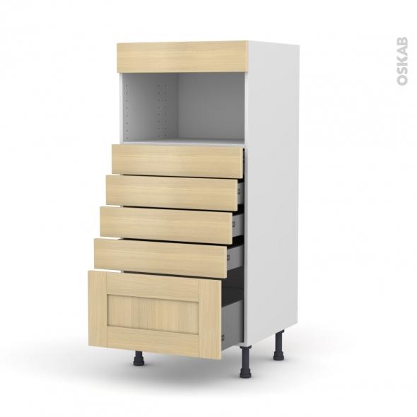 BASILIT Bois Vernis - Colonne MO niche 36/38 N°59  - 5 tiroirs - L60xH125xP58
