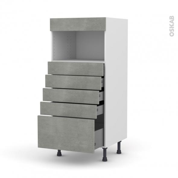 Colonne de cuisine N°59 - MO encastrable niche 36/38 - FAKTO Béton - 5 tiroirs - L60 x H125 x P58 cm