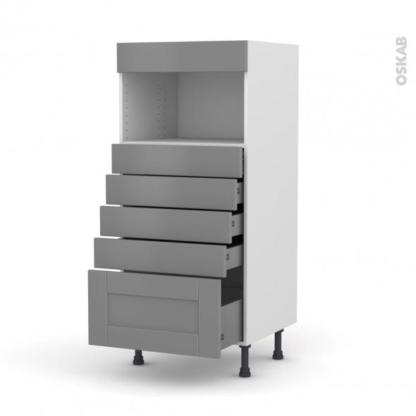 Colonne de cuisine N°59 - MO encastrable niche 36/38 - FILIPEN Gris - 5 tiroirs - L60 x H125 x P58 cm
