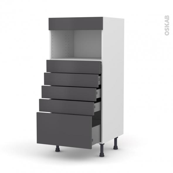 Colonne de cuisine N°59 - MO encastrable niche 36/38 - GINKO Gris - 5 tiroirs - L60 x H125 x P58 cm