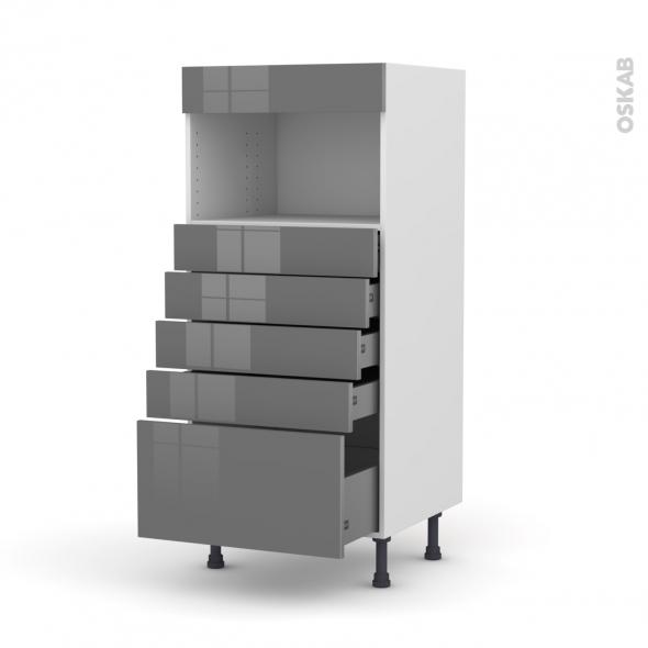 Colonne de cuisine N°59 - MO encastrable niche 36/38 - STECIA Gris - 5 tiroirs - L60 x H125 x P58 cm