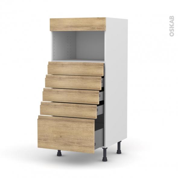 Colonne de cuisine N°59 - MO encastrable niche 36/38 - IPOMA Chêne naturel - 5 tiroirs - L60 x H125 x P58 cm