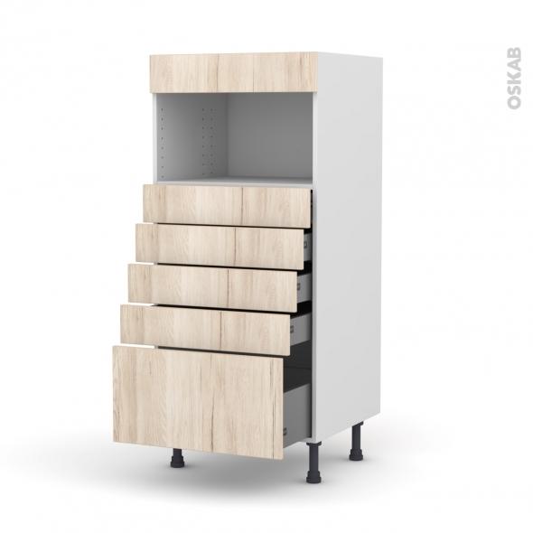 Colonne de cuisine N°59 - MO encastrable niche 36/38 - IKORO Chêne clair - 5 tiroirs - L60 x H125 x P58 cm