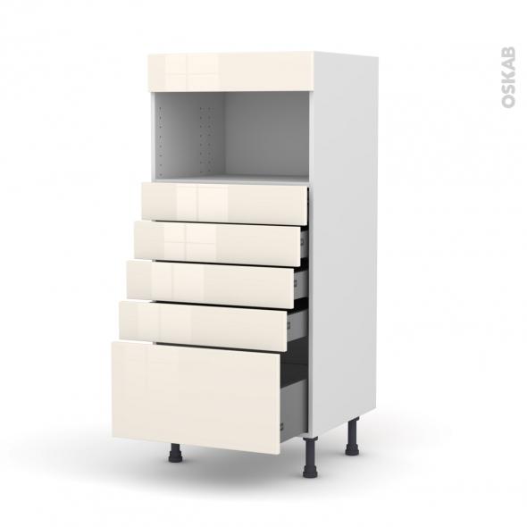 KERIA Ivoire - Colonne MO niche 36/38 N°59  - 5 tiroirs - L60xH125xP58