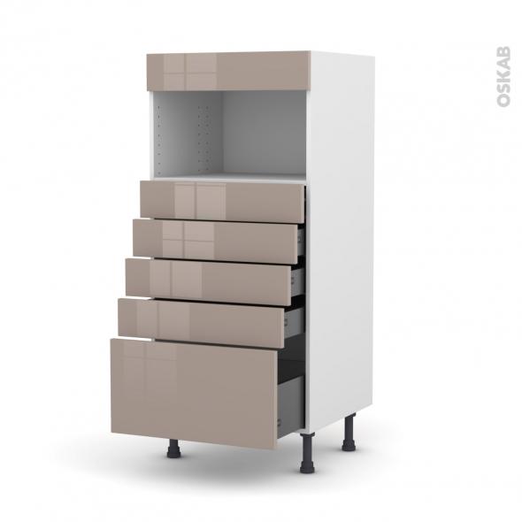 Colonne de cuisine N°59 - MO encastrable niche 36/38 - KERIA Moka - 5 tiroirs - L60 x H125 x P58 cm