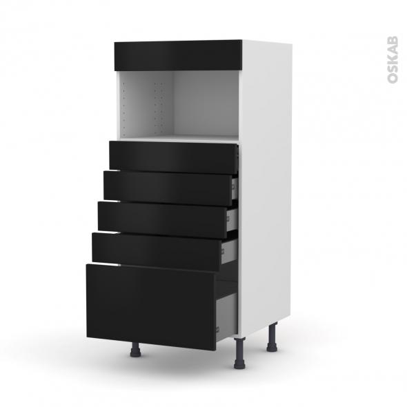 Colonne de cuisine N°59 - MO encastrable niche 36/38 - GINKO Noir - 5 tiroirs - L60 x H125 x P58 cm