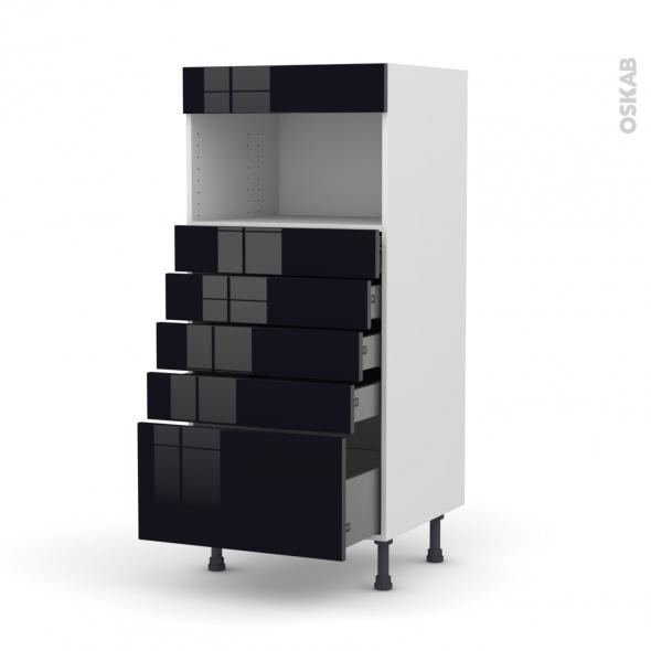 Colonne de cuisine N°59 - MO encastrable niche 36/38 - KERIA Noir - 5 tiroirs - L60 x H125 x P58 cm