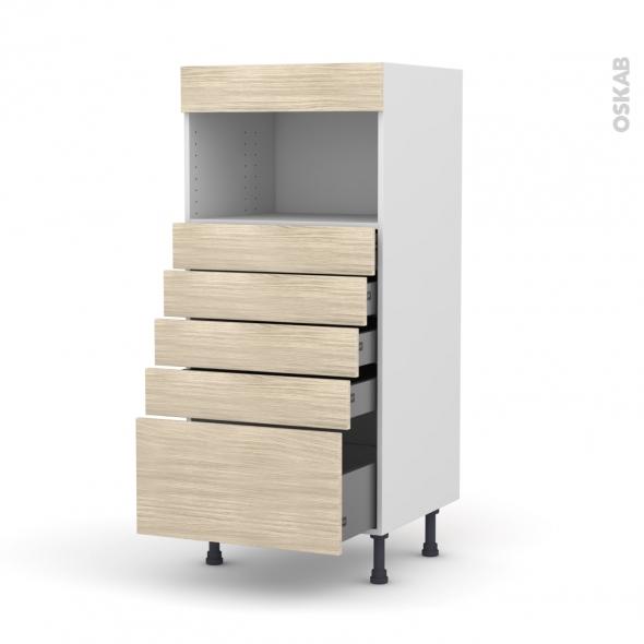 Colonne de cuisine N°59 - MO encastrable niche 36/38 - STILO Noyer Blanchi - 5 tiroirs - L60 x H125 x P58 cm