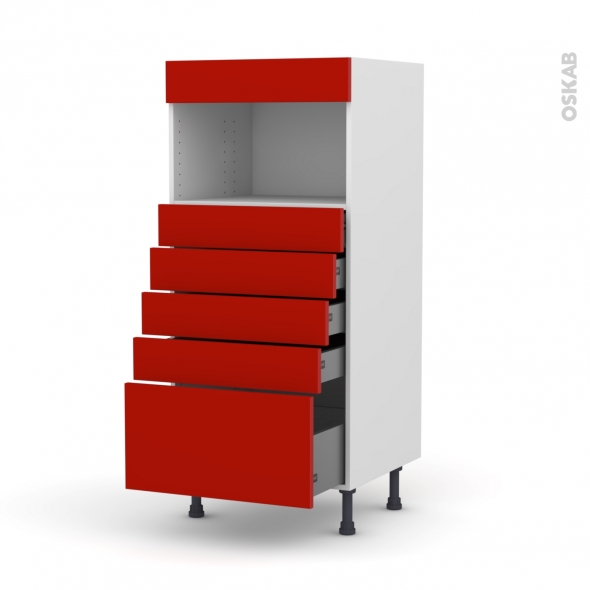 GINKO Rouge - Colonne MO niche 36/38 N°59  - 5 tiroirs - L60xH125xP58