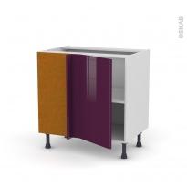 Meuble de cuisine - Angle bas réversible - KERIA Aubergine - 1 porte N°19 L40 cm - L80 x H70 x P58 cm
