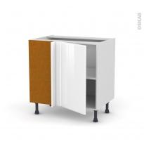 Meuble de cuisine - Angle bas réversible - IRIS Blanc - 1 porte N°19 L40 cm - L80 x H70 x P58 cm