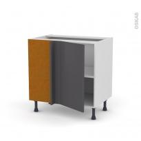 Meuble de cuisine - Angle bas réversible - GINKO Gris - 1 porte N°19 L40 cm - L80 x H70 x P58 cm