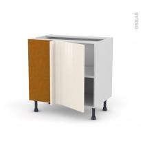 Meuble de cuisine - Angle bas réversible - KERIA Ivoire - 1 porte N°19 L40 cm - L80 x H70 x P58 cm