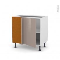 Meuble de cuisine - Angle bas réversible - KERIA Moka - 1 porte N°19 L40 cm - L80 x H70 x P58 cm
