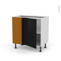 Meuble de cuisine - Angle bas réversible - GINKO Noir - 1 porte N°19 L40 cm - L80 x H70 x P58 cm