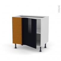 Meuble de cuisine - Angle bas - KERIA Noir - 1 porte N°19 L40 cm - L80 x H70 x P58 cm